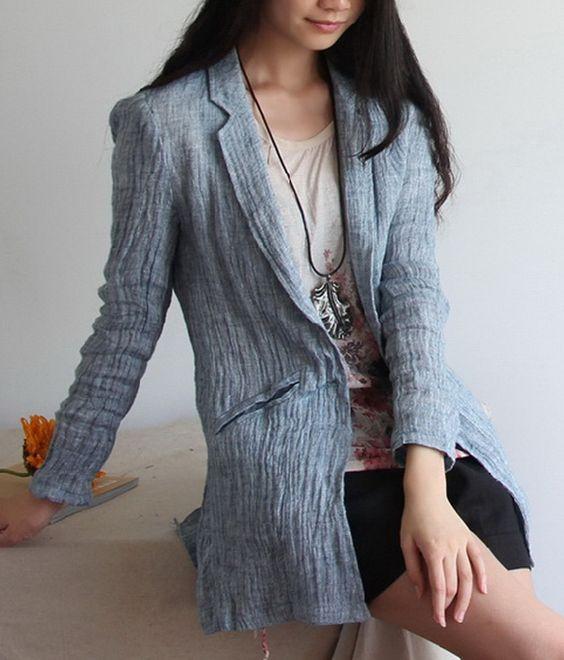 Solid Color Crinkle Linen Coat-zenb.com SKU ca0265