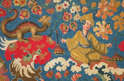 Antique French chinoiserie needlepoint