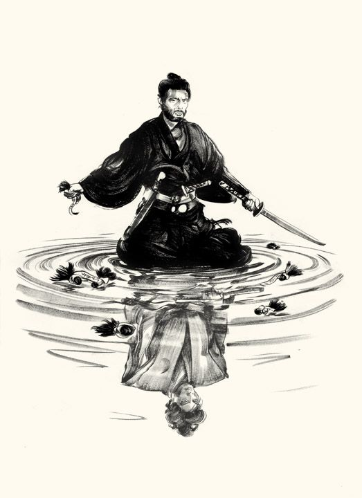 """Tatsuya Nakadai in Masaki Kobayashi's film """"Harakiri"""" (1962), drawn by Greg Ruth.   The main character discovered that several samurai made his son-in-law commit seppuku (the polite term for 'Harakiri').  Now he is surrounded by the top knots of all the dead samurai, while gazing at the vision of his now-dead son-in-law, who has been vindicated."""