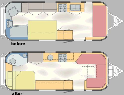 Click Image For Larger Version Name 1969 25 Tradewind Before After Floor Plans Airstream Remodel Airstream