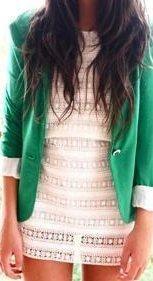 Green blazer + lace dress