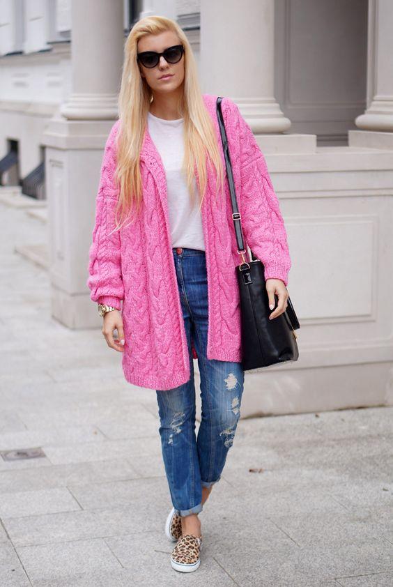 Розовый кардиган (48 фото): с чем носить и как выбрать