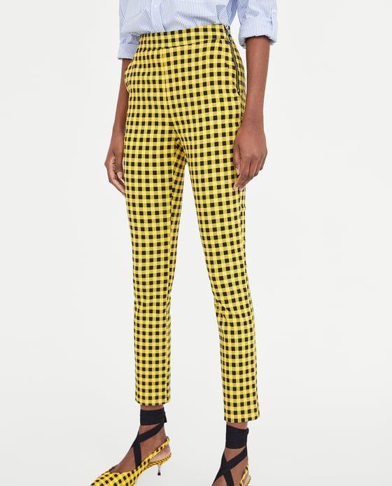 Imagen 3 De Pantalon Cuadros De Zara Ropa Pantalones Amarillos Pantalones Mujer
