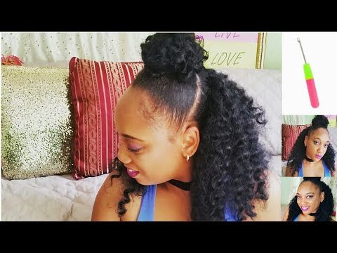 Braidless Crochet Top Knot X2f Half Up Half Down No Cornrows Youtube Hair Styles Diy Hairstyles Womens Hairstyles