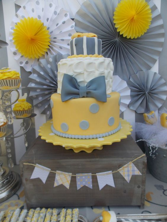 Ties or Tutus Gender Reveal Party - we like the gray and yellow color scheme!