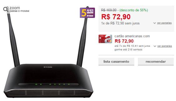 Roteador Wireless D-Link DIR-615 N 300Mbps Duas Antenas 5dBi << R$ 7290 >>