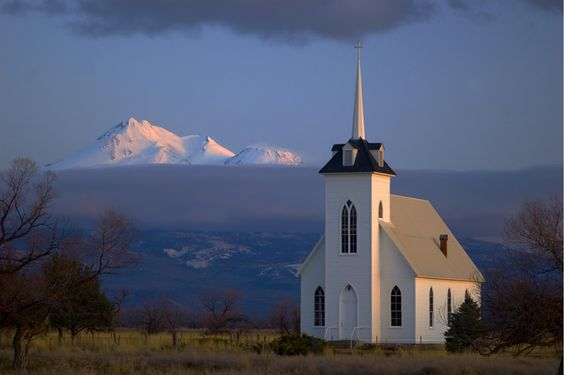 I am obsessed with little white chapels right now. This one is called Little Shasta Church