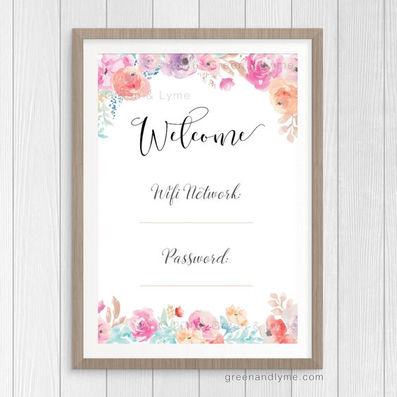 Printable Wall Art: Wifi Password Print. Free printable. Write in your wifi network and password, frame it, then place it in your guest room.