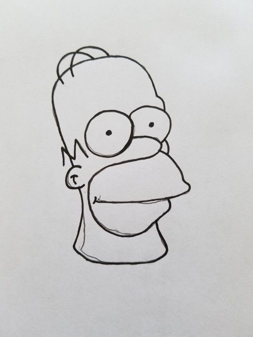 6 Easy Steps To Draw The Best Bootleg Homer Simpson Easy Drawing