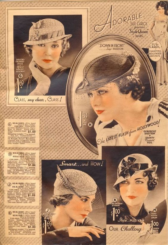 1930s fashion accessories: hats, milinery. Hats from Chicago Mail Order Catalog 1933 source: http://what-i-found.blogspot.com/2009_11_01_archive.html