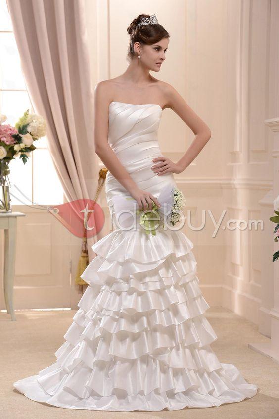 素晴らしいストラップレス帝国刺繍チャペルトレーンウェディングドレス