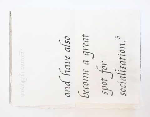 Page containing the word 'socialisation' of Montreal italic calligraphy book