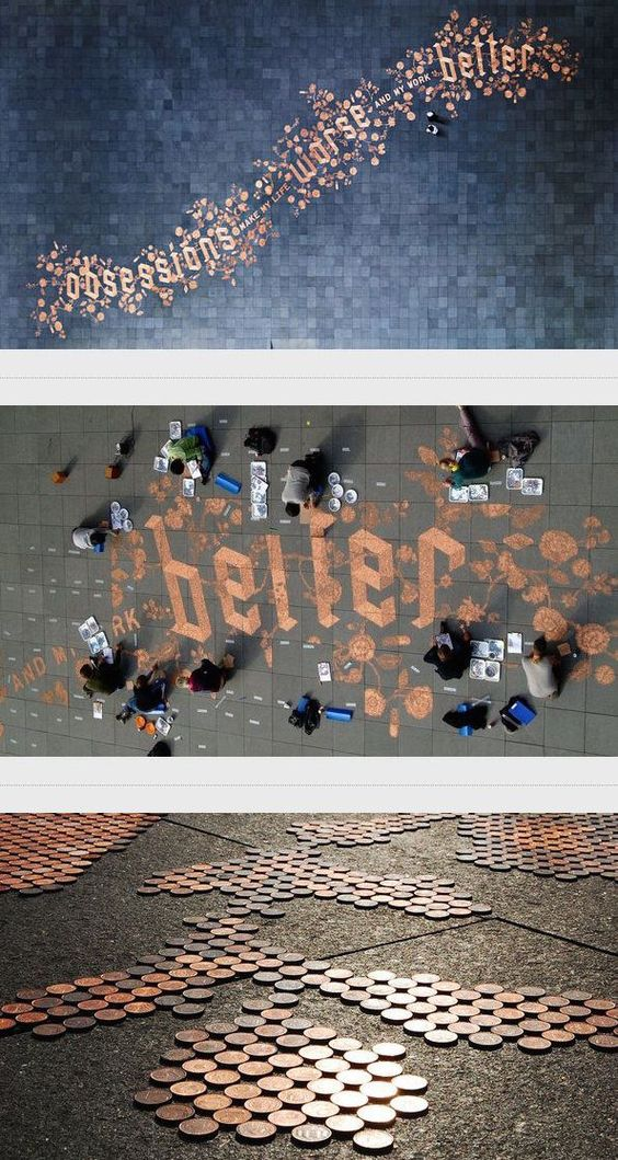 An installation using pennies by @jessicahische and @sagmeisterwalsh    via @jamesrdesigner