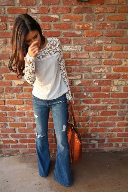Stitch fix spring summer fashion trends 2016. Flare Jean. Khaki top with lace detail. Saddle colored oversized tote.: