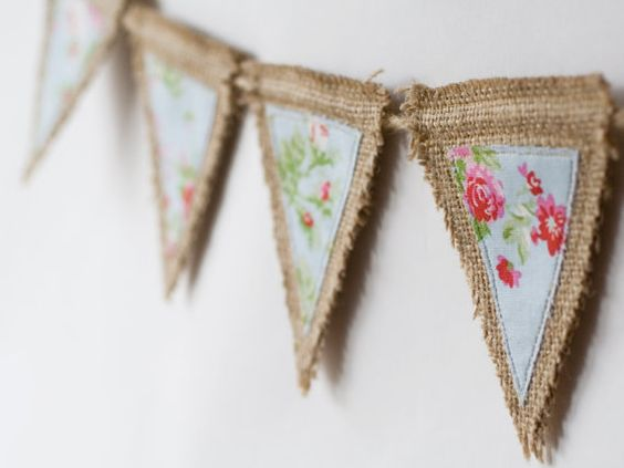 Burlap bunting, high quality banner, hessian, rustic shabby chic decor - red…
