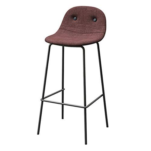 Barstools Backrest Modern Simplicity Leisure Metal Chair Bar Stools With Linen Cover Seat Footrest Dining Chai Modern Bar Stools Bar Stools Wrought Iron Chairs