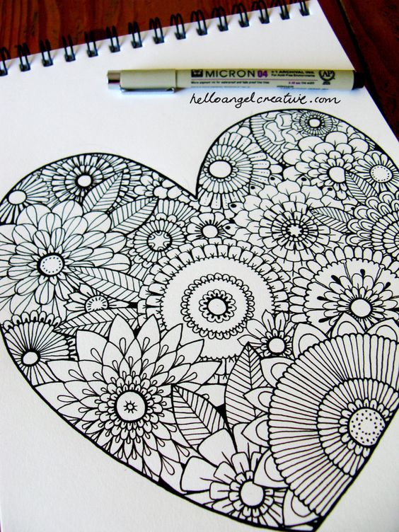 Zentangle heart and flowers.