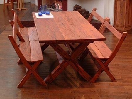 Mesa y banco con patas cruzadas mesas de madera de for Mesas y sillas rusticas