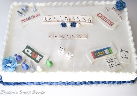 "Game Night Themed Birthday Cake. This was so much fun to make!  All of the ""game"" pieces were made with gum-paste.  Game names are edible images which were attached to gum-paste plaques. The cake is a vanilla/almond cake, filled with swiss meringue buttercream, and iced with american buttercream."