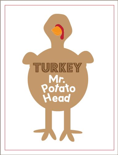 Turkey Mr Potato Head Printable with all the accessories (free printables)