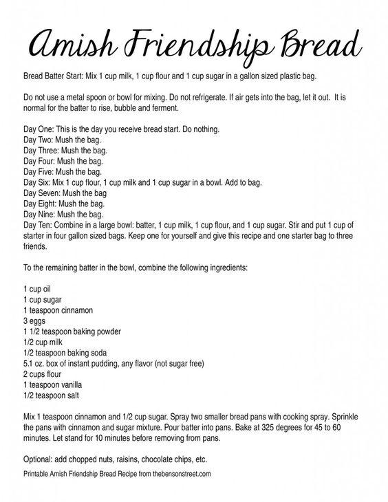 amish friendship bread instructions printable   Get the Printable Amish Friendship Bread Recipe (Digital Recipe below ...