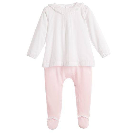 Mayoral Girls White & Pink Spotty Layered Babygrow at Childrensalon.com