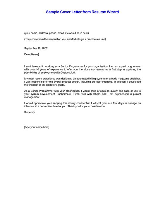 Resume Cover Letter Format Sample -    wwwresumecareerinfo - cover letter draft