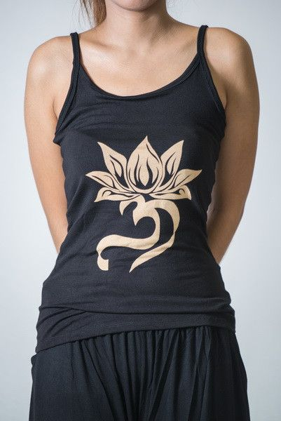 Cotton Spandex Super Soft Women's Tank Top Lotus OM Black