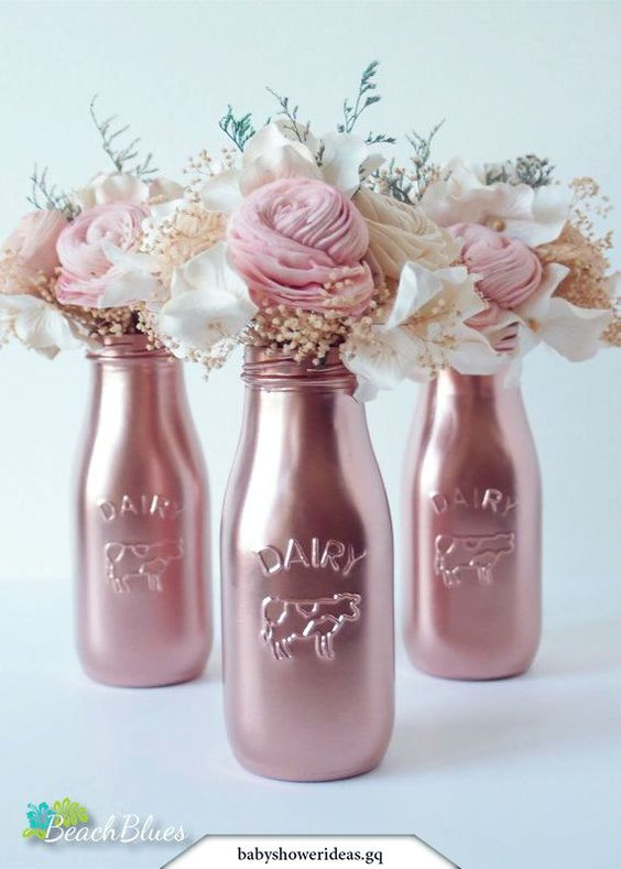 Copper Painted Milk Bottle Baby Shower Decor by BeachBluesBaby #beachbluesbaby #bottle #copper #decor #painted #shower