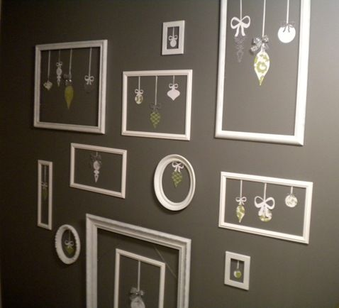 Christmas ornament gallery wall