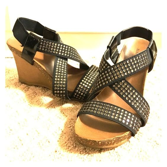 "Nine West Rhinestone Elastic Sandals Very comfortable wedge sandals. No rhinestone is missing. Very good condition, there is a crack on the heel area (see picture) and is taken into discount. 3"" wedge heel, approximately 1"" platform. Comes in its original box. Nine West Shoes Sandals"