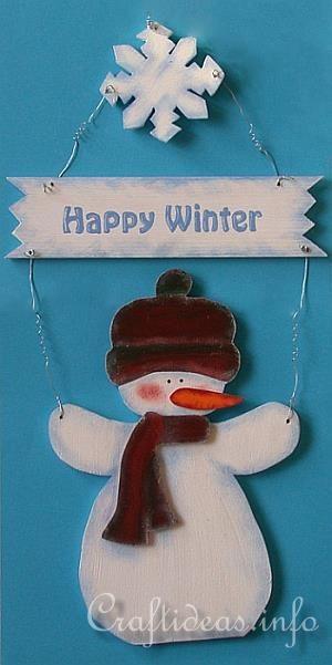 Christmas Wood Craft - Wooden Snowman Door Decoration for Winter
