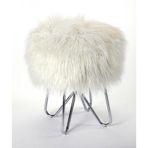 White Faux Fur Silver Legs Vanity Seat Footstool Faux Fur Stool