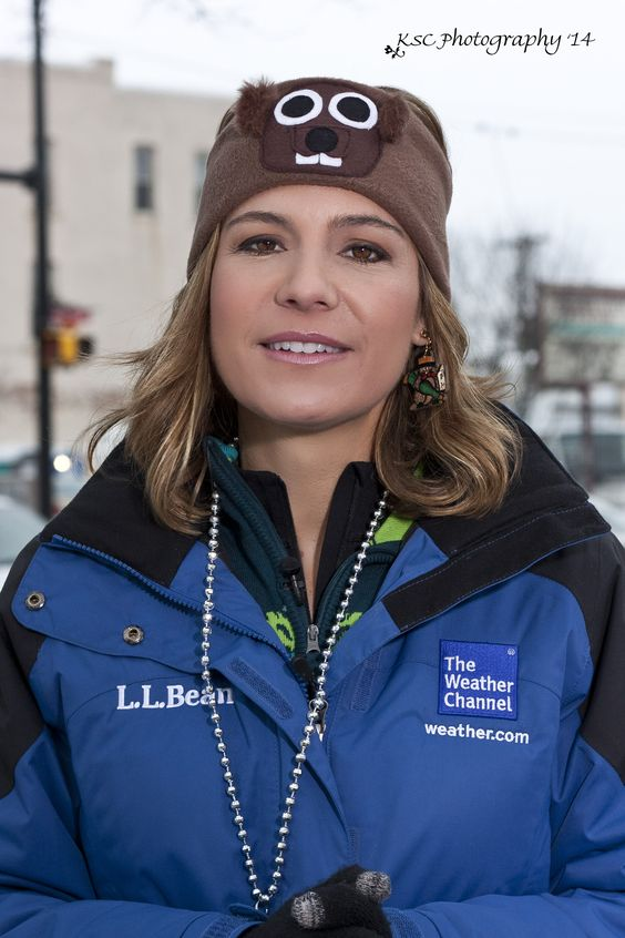 ms  jen carfagno of the weather channel and her groundhog toboggan