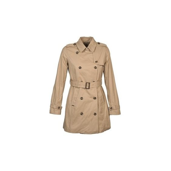 Pepe jeans NURE Trench Coat (665 PEN) ❤ liked on Polyvore featuring outerwear, coats, beige, women, beige coat, pepe jeans london, beige trench coat and trench coat