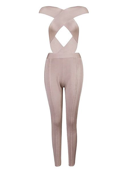 Apricot Bandage Cocktail Jumpsuit:
