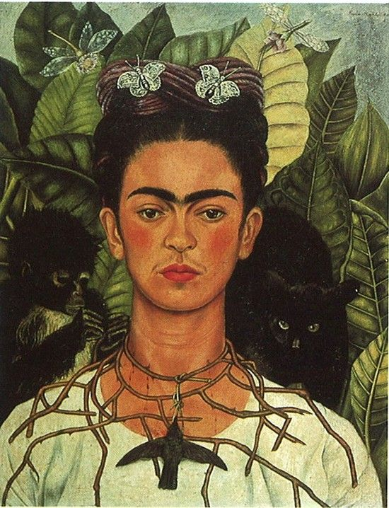 Frida Kahlo, 'Self-Portrait with Thorn Necklace and Hummingbird' (1940). Bisexual affairs, proclaimed herself a ''bitch'', self-portrait with monkeys; it's difficult to separate the life and work of Frida Khalo. The monkey, which often appears in her paintings, is a Mexican mythological symbol of lust, however Kahlo maintained that it was a symbol of tenderness and protection. 27 May 2012
