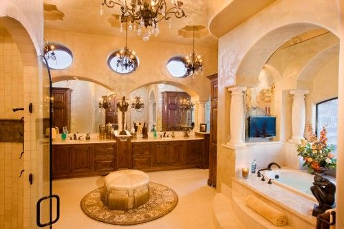 If I had money to throw around, this would be the bathroom I'd have.  However, I would want a cleaning person to keep it up (ha).  So beautiful. Reminds me of many 5 star hotels I've stayed in.  Love this.  Houzz.com has so many beautiful designs.  A winner site.