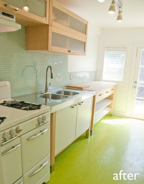 Before after my cheap green kitchen remodel kitchen for Inexpensive kitchen remodel