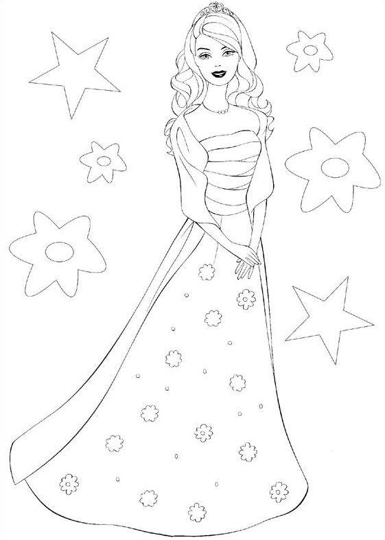 Dibujos De Princesa Para Colorear E Imprimir Barbie Con