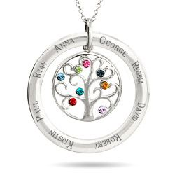 8 Stone Personalized Birthstone Crystal Family Tree Pendant