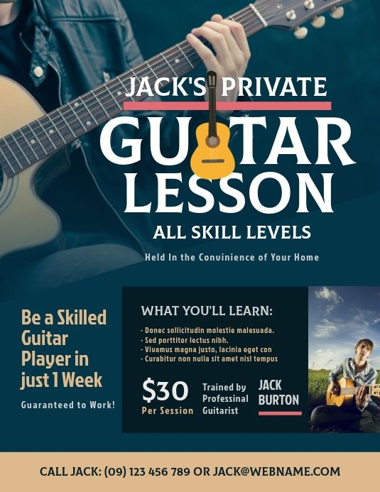 Guitar Lesson Flyer School Posters Poster Template Musicals