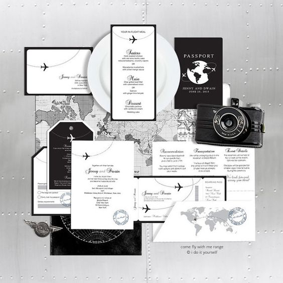 Printable wedding stationery set invitation suite aviation destination travel invite reception ceremony package military - come fly with me