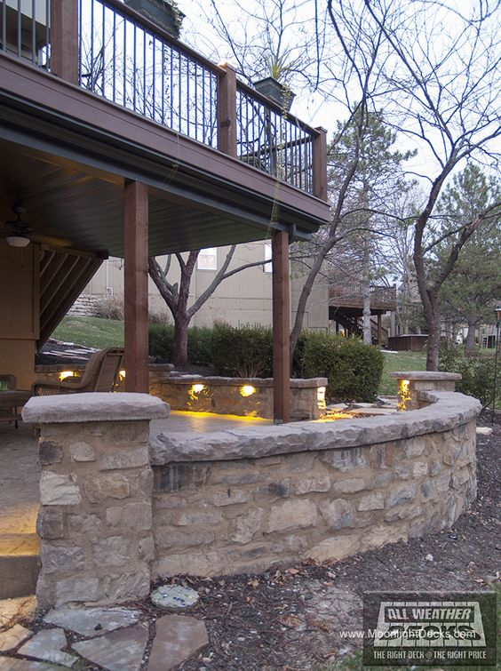 Deck lighting using low voltage lighted post caps under for Low voltage deck lighting
