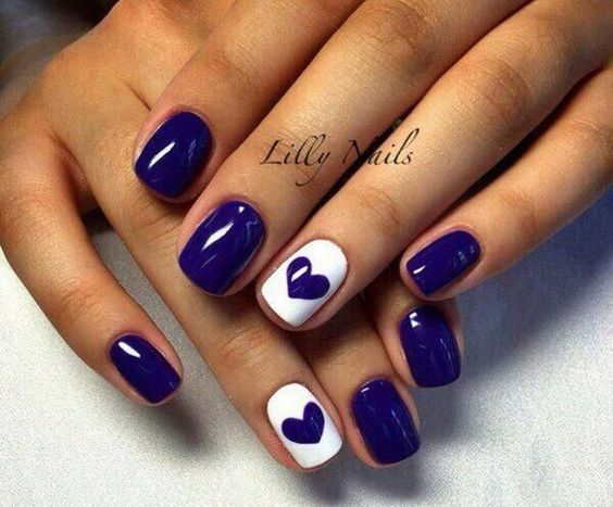 Beautiful winter nails, Contrast nails, Dating nails, Heart nail designs, Hearts on nails, Medium nails, Perfect nails, ring finger nails