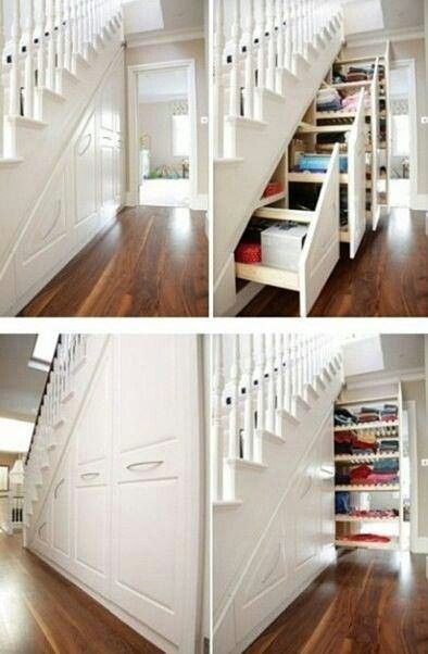 Stairs drawers and under stairs on pinterest for Under stairs drawers plans