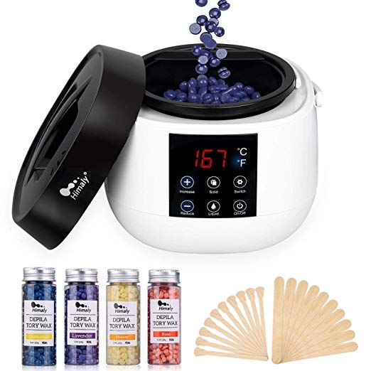 Wax Warmer Hair Removal Waxing Kit With Led Screen Display Himaly Electric Wax Pot Heater With 4 Flavors Hard Wax Beans And 20 Applicator Sticks For Legs Bod Waxing Kit Hard