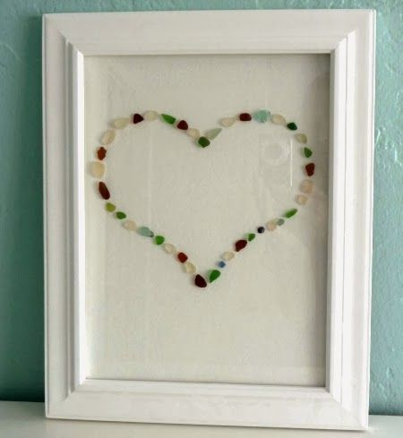 Beach Heart Ideas -Share the Love (sea glass in a frame)