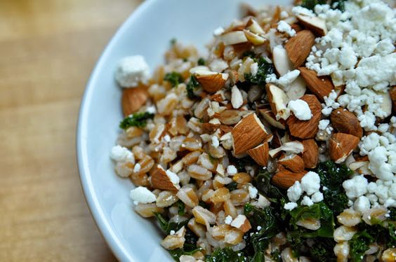 Kale and Farro Salad with Goat Cheese