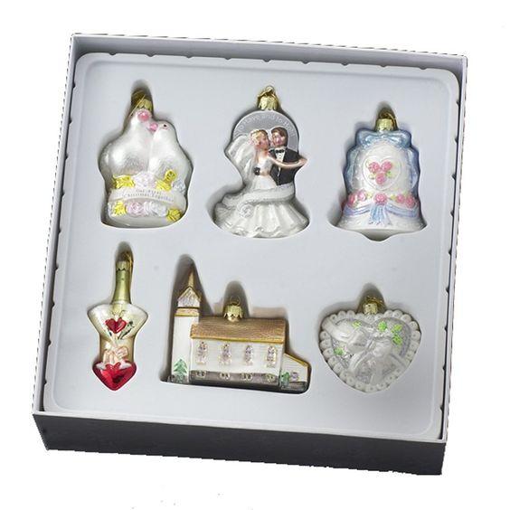 Kurt Adler 3-1/2-4-Inch Noble Gems Glass Wedding Set, 6-Piece Set - Decorative Hanging Ornaments